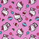 Picture of Hello Kitty Present Toss Candy Cane Holiday Pink Cotton Fabric