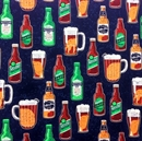 Picture of Beer Bottles Draft Beers Pitchers Mugs Craft Beer Cotton Fabric