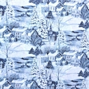 Picture of The Midst of Winter Town Scene Sparkle Blue Toile Cotton Fabric
