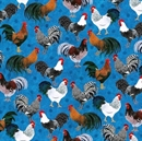 Picture of Rise and Shine Rooster Breeds on Marbled Blue Cotton Fabric