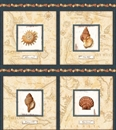 Picture of Sea Treasures Topographic Map Seashell Blocks 24x22 Cotton Fabric