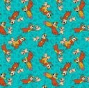 Picture of Yogi Bear and Boo-Boo in Bali Hanna-Barbera Turquoise Cotton Fabric