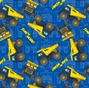 Picture of Tonka Time Toy Trucks Time To Work Blue Cotton Fabric