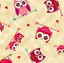 Picture of Love's All Around Owls Valentine Owl on Arrows Cream Cotton Fabric