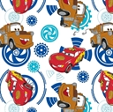 Picture of Disney Pixar Cars McQueen and Mater Blue Gears on White Cotton Fabric