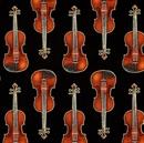 Picture of In Tune Metallic Gold Thread Violins Music Violin Black Cotton Fabric