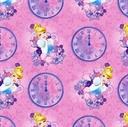 Picture of Disney Cinderella Clocks Elegant Princess Pink Cotton Fabric