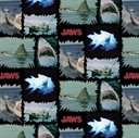 Picture of Jaws Shark Torn Patches Movie Scenes Universal Studios Cotton Fabric