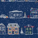 Picture of Naughty or Nice Christmas Houses Decorated Lights Blue Cotton Fabric