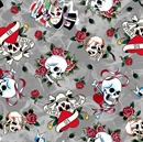 Picture of Love Is True Ed Hardy Tossed Skulls Roses Grey Cotton Fabric