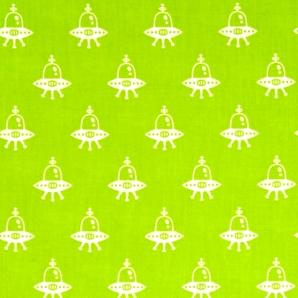 Cotton fabric childrens fabric spaced out alien space for Spaceship fabric