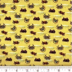 Crabs on Yellow Blue Claw Horseshoe, Spider Cotton Fabric
