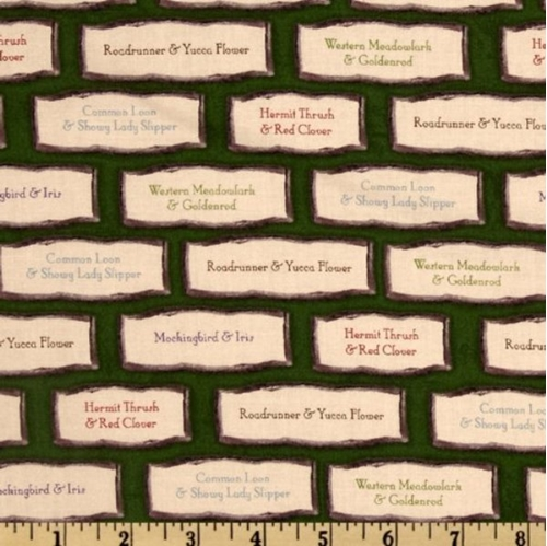 State Beauties Bird and Flower Name Labels Cotton Fabric