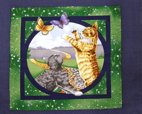 Kittens And Butterflies Polka Dot Cotton Fabric Pillow Panel