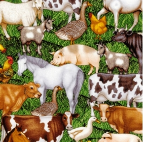 Picture of Cream of the Crop Farm Animals Cotton Fabric