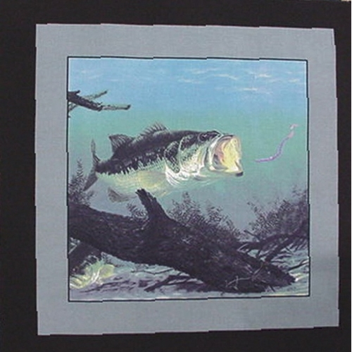 Wide Mouth Bass Rubber Worm Bait Cotton Fabric Pillow Panel