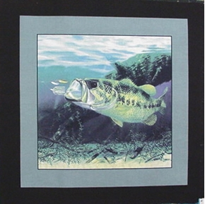 Picture of Wide Mouth Bass Spinner Bait Cotton Fabric Pillow Panel