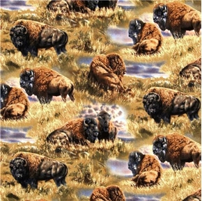 Bison Range Scenic Bison All Over Cotton Fabric