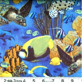 Coral Seas Ocean Life Fish and Turtles Cotton Fabric