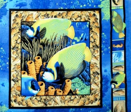 Coral Seas Underwater Ocean Fish Cotton Fabric Pillow Panel