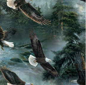 All He Surveys Bald Eagles In Flight Cotton Fabric
