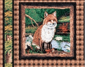 Picture of Fox Pup on Brown Plaid Cotton Fabric Pillow Panel