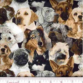 Picture of Dog Head Collage Pugs, Shepherds, Labs Cotton Fabric