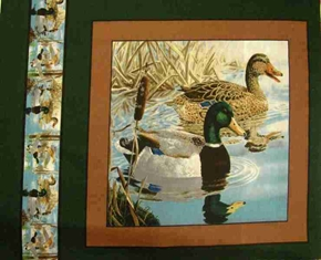 Mighty Mallards Ducks In Water Cotton Fabric Pillow Panel