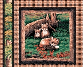Picture of Fox Cubs on Brown Plaid Cotton Fabric Pillow Panel