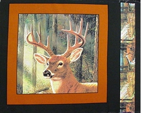 Wild Deer Buck Near The Trees Cotton Fabric Pillow Panel