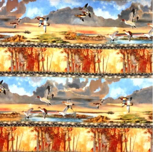 First Light Fall Ducks And Geese In Stripes 24X22 Cotton Fabric