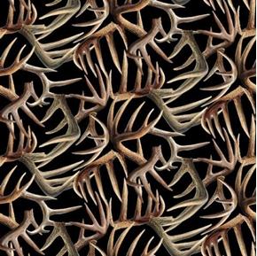 Eastern Edge Antlers Deer Elk Antlers Black Cotton Fabric