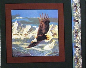 Bald Eagle Soaring In Sky Over Mountains Cotton Fabric Pillow Panel