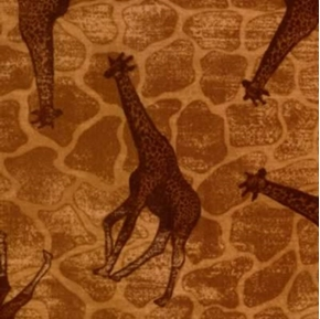 African Giraffes on Brown Skin Pattern Cotton Fabric