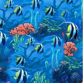 Sea World Tropical Striped Angel Fish Cotton Fabric