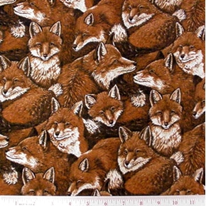Sly Red Fox Collage Cotton Fabric