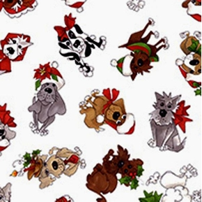 Doggie Holiday Dressed For Christmas on White Cotton Fabric