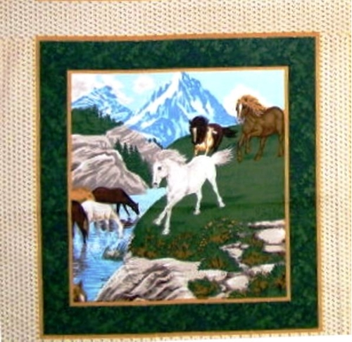 River Run Wild Horses And Mountain Cotton Fabric Pillow Panel
