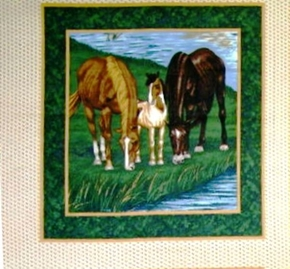 River Run 3 Wild Horses Grazing Cotton Fabric Pillow Panel