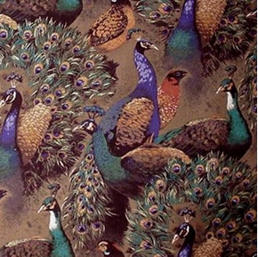 Picture of Beautiful Peacocks on Brown Aviary Cotton Fabric
