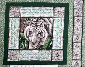 White Tiger Cotton Fabric Pillow Panel
