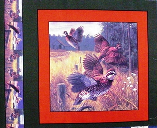 Wild Quail Covey Flushed From The Brush Cotton Fabric Pillow Panel