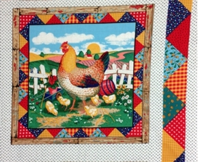Green Acres Rooster With Chicks Cotton Fabric Pillow Panel