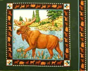 Moose By The River With Cattails Cotton Fabric Pillow Panel