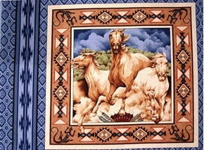 Wild Horses On Blue Cotton Fabric Pillow Panel