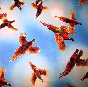 Pheasant Country Birds In Flight In The Blue Sky Cotton Fabric