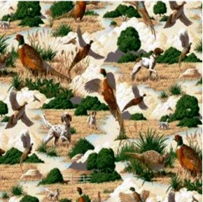 Pheasants and Hunting Dogs Cotton Fabric
