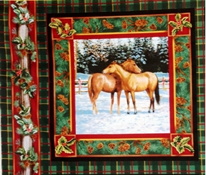 Blessed Are They Two Brown Horses Cotton Fabric Pillow Panel