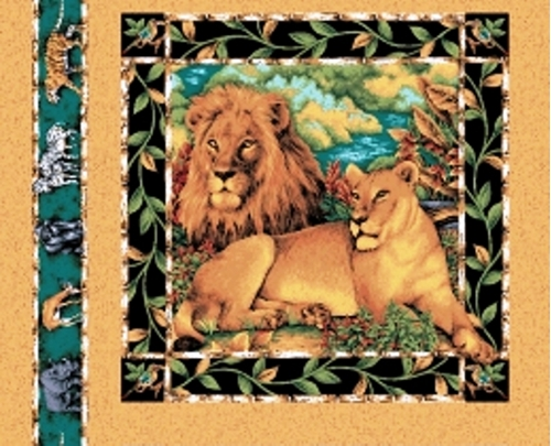 Out Of Africa African Lion Couple Cotton Fabric Pillow Panel