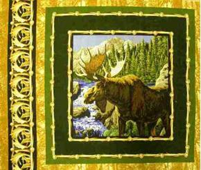 Male Moose By Stream Cotton Fabric Pillow Panel